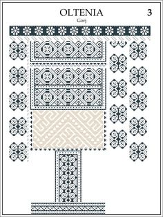 Semne Cusute: ie din OLTENIA, Gorj Folk Embroidery, Embroidery Stitches, Embroidery Patterns, Cross Stitch Patterns, Machine Embroidery, Baby Tattoos, Folk Fashion, Antique Quilts, Cross Stitch Flowers