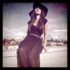 American Apparel Chiffon Full Length Skirt, Christian Louboutin Platforms, Zara belt, Express hat