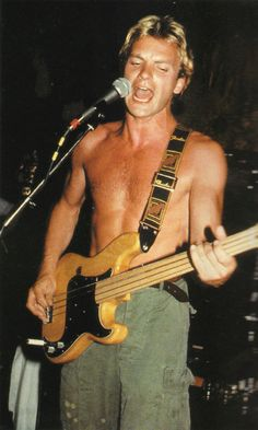 Sting (The Police) with his Fender fretless Precision Bass! 1979, I guess. Not sure.