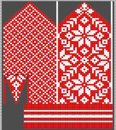 Diagram inspired by Selbuvotter by Clara Falk Knitted Mittens Pattern, Fair Isle Knitting Patterns, Crochet Mittens, Knitting Charts, Knitting Stitches, Knitting Designs, Knitting Socks, Hand Knitting, Knitted Hats