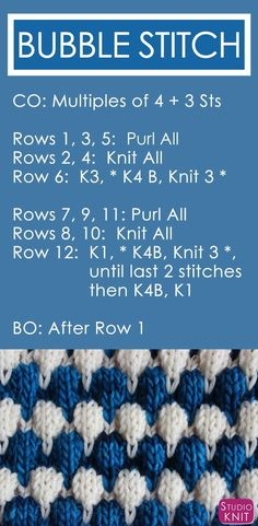 Bubble Knit Stitch Pattern with Easy Free Pattern + Knitting Video Tutorial by Studio Knit. #StudioKnit