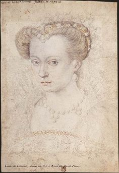 LOUISE DE LORRAINE queen of France POROVENANCE: ecole de Clouet, ca 1580, BnF - Dessins de la Renaissance Louise de Lorraine queen of France wife of Henri III ca 1580, sketch for lost portrait