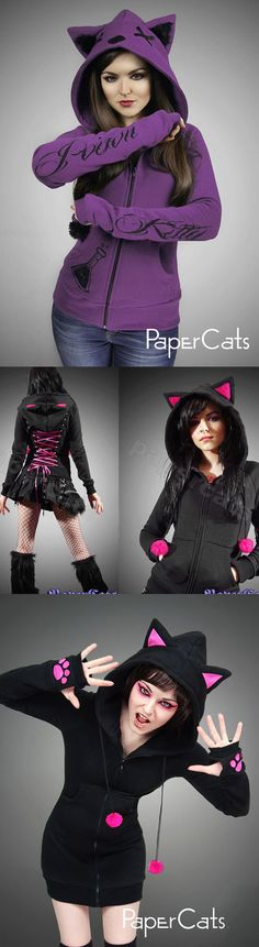 Shop gothic emo cat hoodies for women at RebelsMarket!