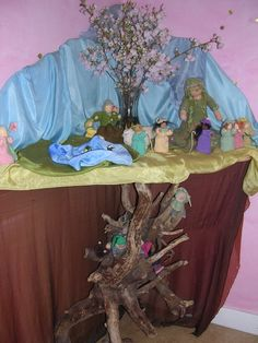 The gnomes in the bottom part I made loooooooooooong time ago! So happy to see them again and know where they now live!  I even spy one of my yellow Flower Children. It is fun to see how they travel through the cyber world!  Nature Table set up made by Sasha Prosser.