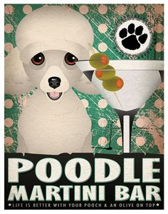 Poodle Drinking Dogs Original Art Poster Print by DogsIncorporated, $29.00