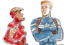Leo as Iron Man and Jason as Cap. Personally, I think Percy would be a better fit for Cap.