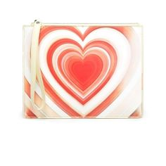 Christopher Kane Lenticular-heart leather pouch (23,425 PHP) ❤ liked on Polyvore featuring bags, handbags, clutches, yellow multi, leather zipper pouch, evening clutches, special occasion clutches, red clutches and zip pouch