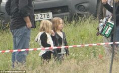 Where's mum? Both of the the twins Vivienne and Knox were spotted visiting their famous mother on the British set