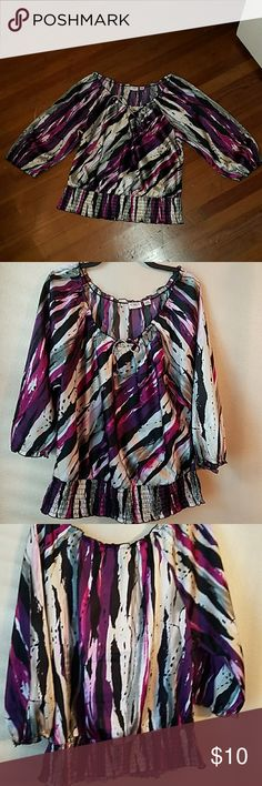 CATO blouse CATO multi color,  3/4 sleeve blouse with stretchy elastic around collar, bottom and sleeves.   Size 14w/16w Colors: purple, black, silver, cream, white, fuschia Cato Tops Blouses