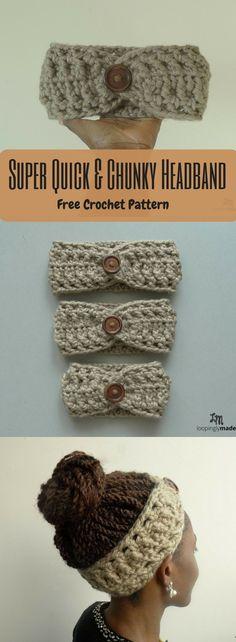 Quick and Chunky Headband- Free Crochet Pattern A quick and chunky crochet headband to make.A quick and chunky crochet headband to make. Bonnet Crochet, Crochet Diy, Crochet Headband Pattern, Chunky Crochet, Chunky Yarn, Crochet Beanie, Crochet Gifts, Crochet Headbands, Baby Headbands