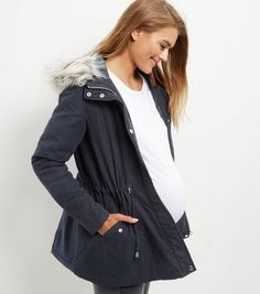 Maternity Navy Faux Fur Trim Hooded Parka Jacket  | New Look