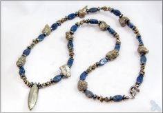 "Lapis Lazuli and Pyrite (""Fool's Gold"") necklace."