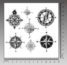 Cool compass temporary tattoo tattoo stickers transfer by nicecoco