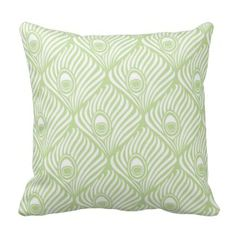 Green Decorative Throw Pillows | Pretty Throw Pillows | Green peacock feather throw pillow #throwpillows #homedecor Visit our store to see our full collection www.prettythrowpillows.com