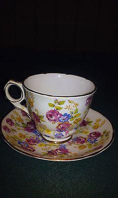 Vintage Royal Stafford Bone China Chintz Roses Tea Cup & Saucer England