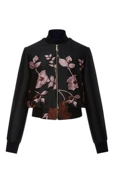 This **Elie Saab** bomber jacket is rendered in floral jacquard and features a relaxed boxy fit with a slightly cropped hem.