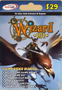 Wizards 101 prepaid gift card for Nibbs and Pickle