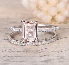 Emerald Cut Morganite Engagement Ring Bridal Set Pave Diamond Wedding 14K White Gold 6x8mm