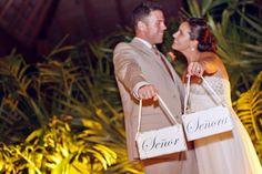 Wedding Inspiration: Wedding Bride and Groom Holding Signs