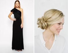 Party Dresses + Holiday Hairstyles to Go With 'Em --   One Shoulder Maxi and Knotted Side Bun: If you're headed to a more formal affair, go for the full-length dress to make your look instantly fancier. A one-shouldered piece ($114) is always a fun option if you're bored of the same basic necklines. Keep that unique element on show and add some balance to your outfit by gathering your hair on the shoulder-less side and twisting it into a unique side bun.