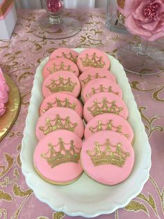 Crown cookies at a pink and gold baby shower party! See more party planning ideas at CatchMyParty.com!