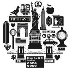 New York City icons royalty-free stock vector art