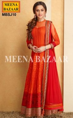 Orange Net Anarkali Suit - Make understated elegance your signature style as you dress up in this flirtatious sheer sleeves Orange Net Anarkali Suit. Expertly crafted, this Suit has heavy resham work all over the ghera and the shimmer hemline patch with Zari work and Golden beads making it look stunning. It is teamed with Red net dupatta with Patch Patti border adorned with Zari and Golden beads and a matching Bottom. A perfect outfit for Evening Parties as well as Formal Occasions.