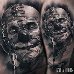 "6,404 Likes, 73 Comments - Tattoo Artist Magazine (@tattooartistmagazine) on Instagram: ""Sick n twisted #black_and_grey #clown_tattoo by @khailtattooer -- if you like good tattoos, follow…"""