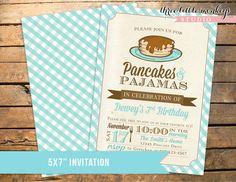 Pancakes and PJs Pajamas Birthday Invitation in Blue