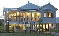 """The """"Queenslander"""" home is an important part of Australia's cultural heritage. Today architects are accommodating this home design for century living. House Paint Exterior, Exterior House Colors, House Roof, Facade House, Queenslander House, Australian Homes, The Ranch, Style At Home, Traditional House"""