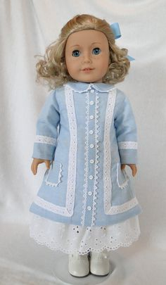 American Girl Dolls : Image : Description Nellie Oleson's Dress for the American girl by dancingwithneedles Sewing Doll Clothes, Sewing Dolls, Ag Dolls, Girl Doll Clothes, Doll Clothes Patterns, Girl Dolls, Doll Patterns, American Girl Outfits, American Girl Dress