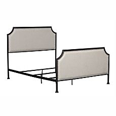 image of Pulaski Upholstered Metal Queen Bed with Tack Accent Border in Cream/Black