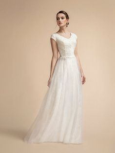 Moonlight Sparkly A-line Wedding Dress with Wide V-neck and Bateau Back Wedding Dress Necklines, Modest Wedding Dresses, Beaded Wedding Gowns, Sparkle Skirt, Cap Sleeves, Dresses With Sleeves, A Line Gown, Bridal Looks, Embroidered Lace