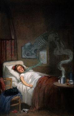 "Difteria tratando de llevarse a una pequeña (""Diphtheria trying to steal a small child""). Richard Tennant Cooper. 1910. Localización: Museo Metropolitano de Nueva York. https://painthealth.wordpress.com/2016/04/20/difteria-tratando-de-llevarse-a-un-pequeno/"