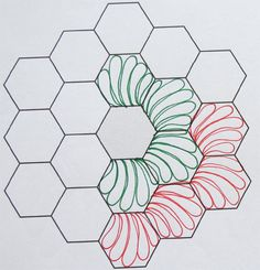 Patchwork Quilt Hexagon Ideas For 2019 Quilting Stencils, Longarm Quilting, Free Motion Quilting, Quilt Studio, Hexagon Patchwork, Hexagon Quilt, Machine Quilting Patterns, Quilt Patterns, Design Patterns