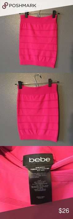 Pink Bebe Bodycon high waisted skirt Comfortable stretchy material. Has horizontal stripe texture. It can be worn short or long! bebe Skirts Midi
