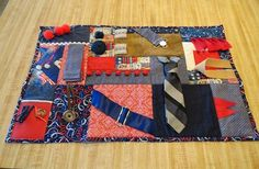 """The Tie Action Quilt aka Fidget Quilt / Lanetta has a step by step on her blog (which btw is fabulous and fun) on how to make these little """"Action Quilts"""" / Great way to use up your trim stash ;)"""