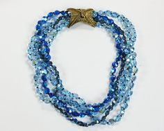 Multi Strand Necklace Blue AB Crystals Fancy Clasp Designer