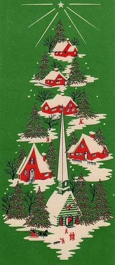 red, white, green vintage Christmas card.  Christmas village with church, arranged like a Christmas tree.
