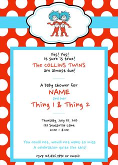 Dr Seuss Thing 1 And 2 Twins Birthday Party Or Baby Shower