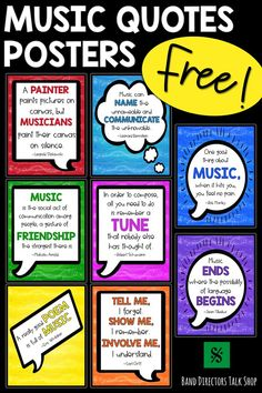FREE Music Posters: Composer Quotes Music Bulletin Board - Music teachers, are you looking for free and fun music classroom posters? Music Classroom Posters, Music Posters, Quote Posters, Classroom Decor, Classroom Board, Music Word Walls, Music Words, Music Quotes, Music Teachers