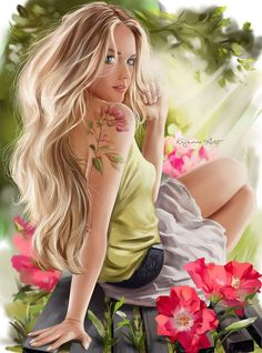 This woman is Vicki.All flowers are beautiful in their own way, and that's like women too. After womwn, flowers are the most divine creations. - Art by Lorri Kajenna. Art Anime Fille, Anime Art Girl, Fantasy Art Women, Fantasy Girl, Girl Cartoon, Cartoon Art, Evvi Art, Belle Silhouette, Digital Art Girl