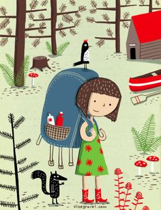 kids • illustration • children • book • art • drawing • summer camp • woods • little girl • nature • forest •