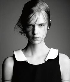 Simple | scowl | look | pout | model | black & white | fashion | editorial | collar | love | www.republicofyou.com.au