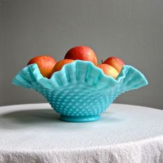 Turquoise Blue Milk Glass Bowl by Fenton with Hobnail Pattern, 1950s. $96.00, via Etsy.