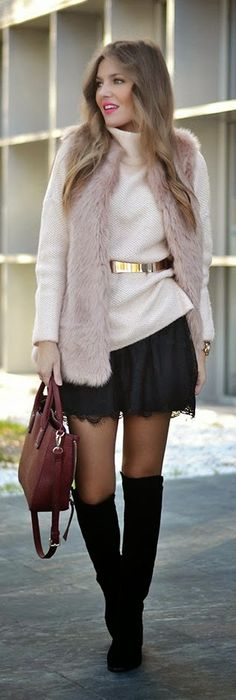 Daily New Fashion / Black Lace Skirt with Sleeveless Faux Fur Vest and Gold Belted.