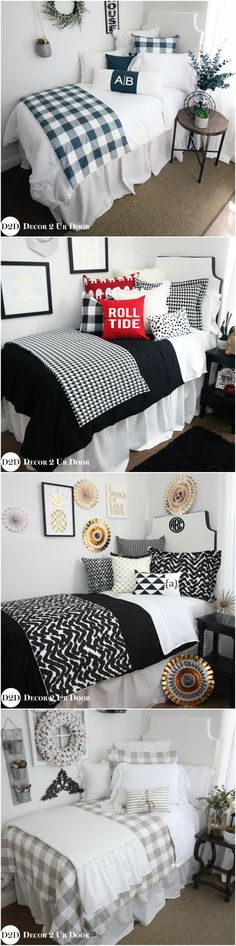 We've taken all of the guess work out of designing your dorm bedroom. Select one of our trendy dorm bedding packages, add your monogram and checkout. It's that simple. Décor 2 Ur Door's dorm bedding collections are complete with decorative throw pillows, comfortable and classic duvet covers, bed skirts, headboards and more.