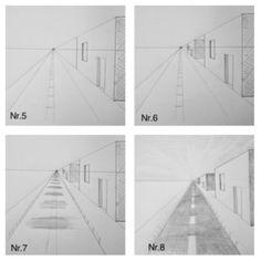 Fluchtpunktperspektive mit einem Punkt: Straße zum Horizont – Howto Draw  Perspektive, zeichnen lernen, Tutorial, Ansicht, perspective
