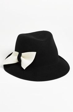 Halogen® Contrast Bow Fedora available at  Nordstrom Cute Winter Hats e69ea6654222