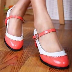 Women's Shoes Round Toe Chunky Heel Flats with Buckle Shoes More Colors available - USD $ 24.99